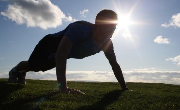 Personal trainer doing press ups in West Yorkshire