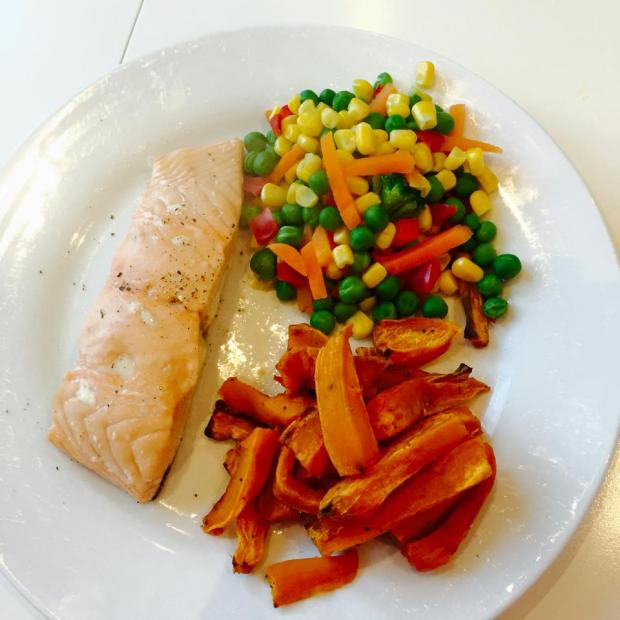 Salmon, Sweet Potato & Mixed Vegetables
