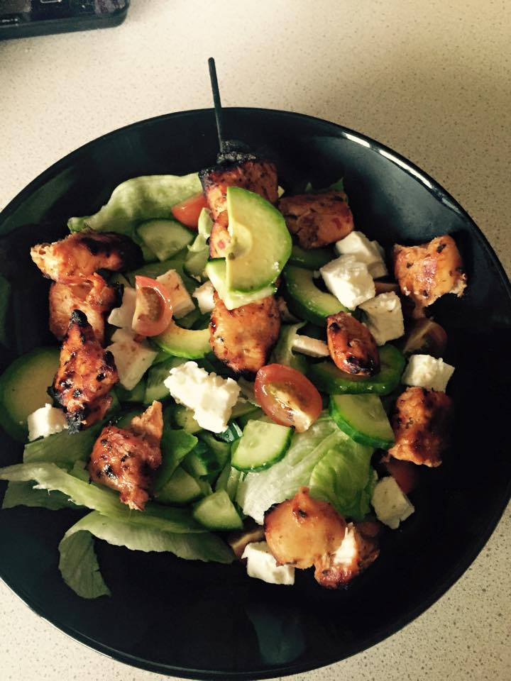 Sweet Chilli Chicken with Avocado, Lettuce, Spinach, Cucumber, Feta Cheese